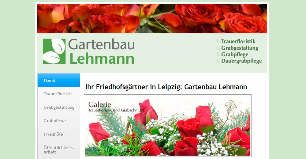 Screenshot Website Friedhofsgaertnerei