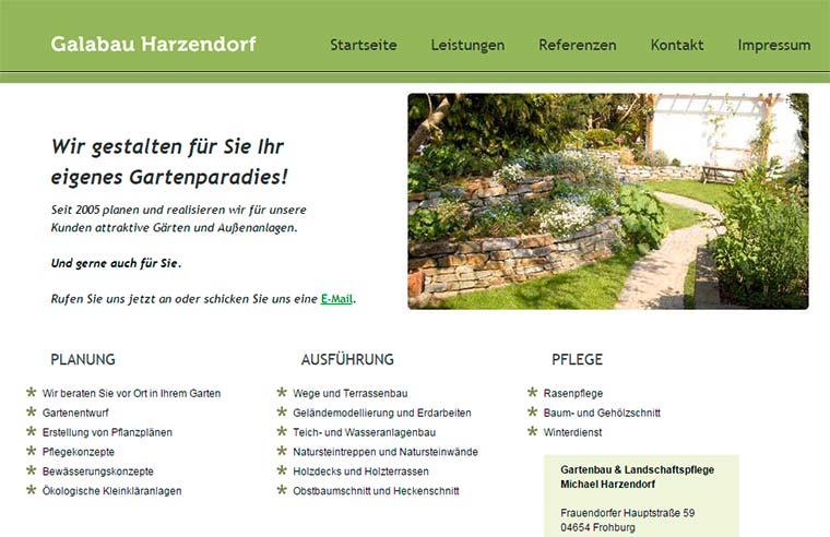 Webvisitenkarte Galabau / Garten- und Landschaftsbau