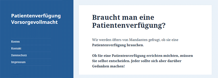 Website Patientenverfuegung